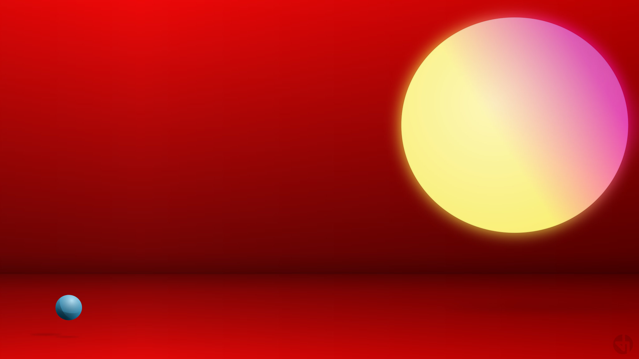 A desktop wallpaper that tries to show how a ball lights up with two sources of light.