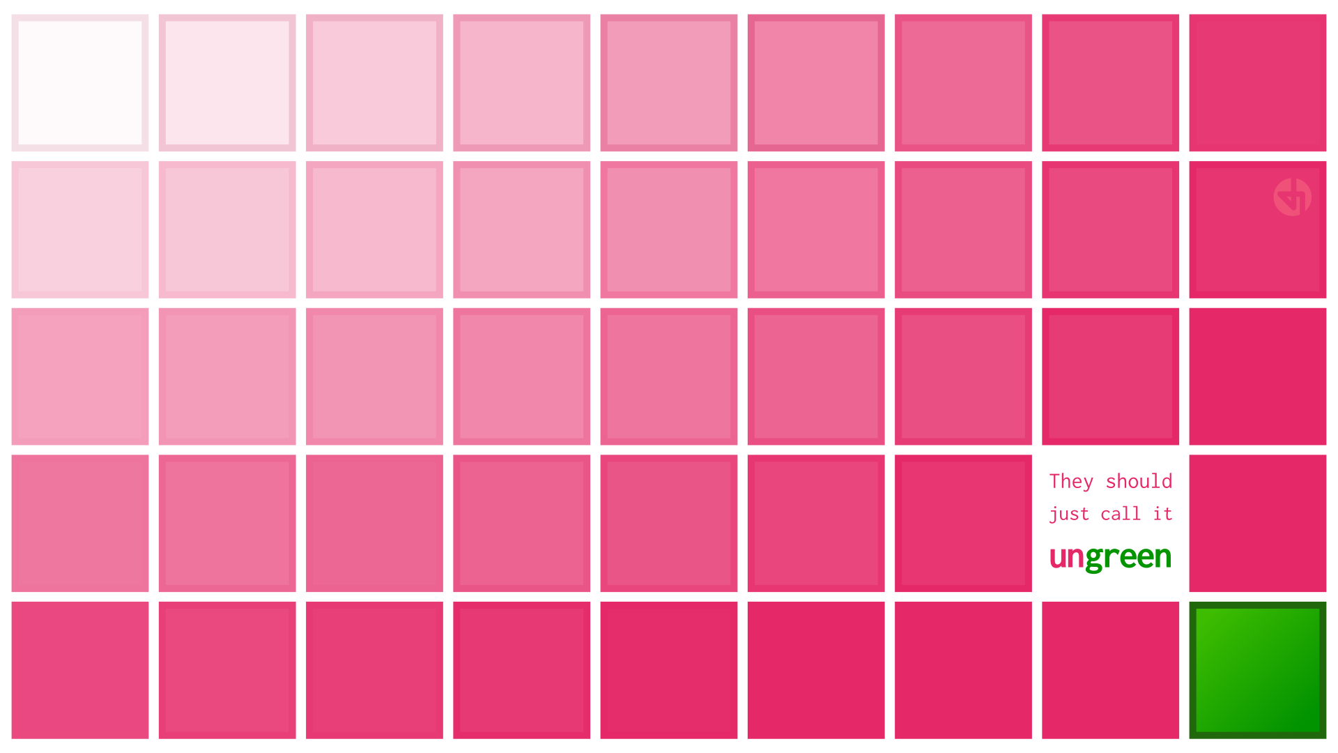A desktop wallpaper that explains why pink isn't a color of light. It's just what's left over when you take green out of white light.