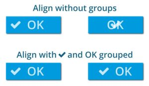 Aligning icon and text in a button without and with grouping