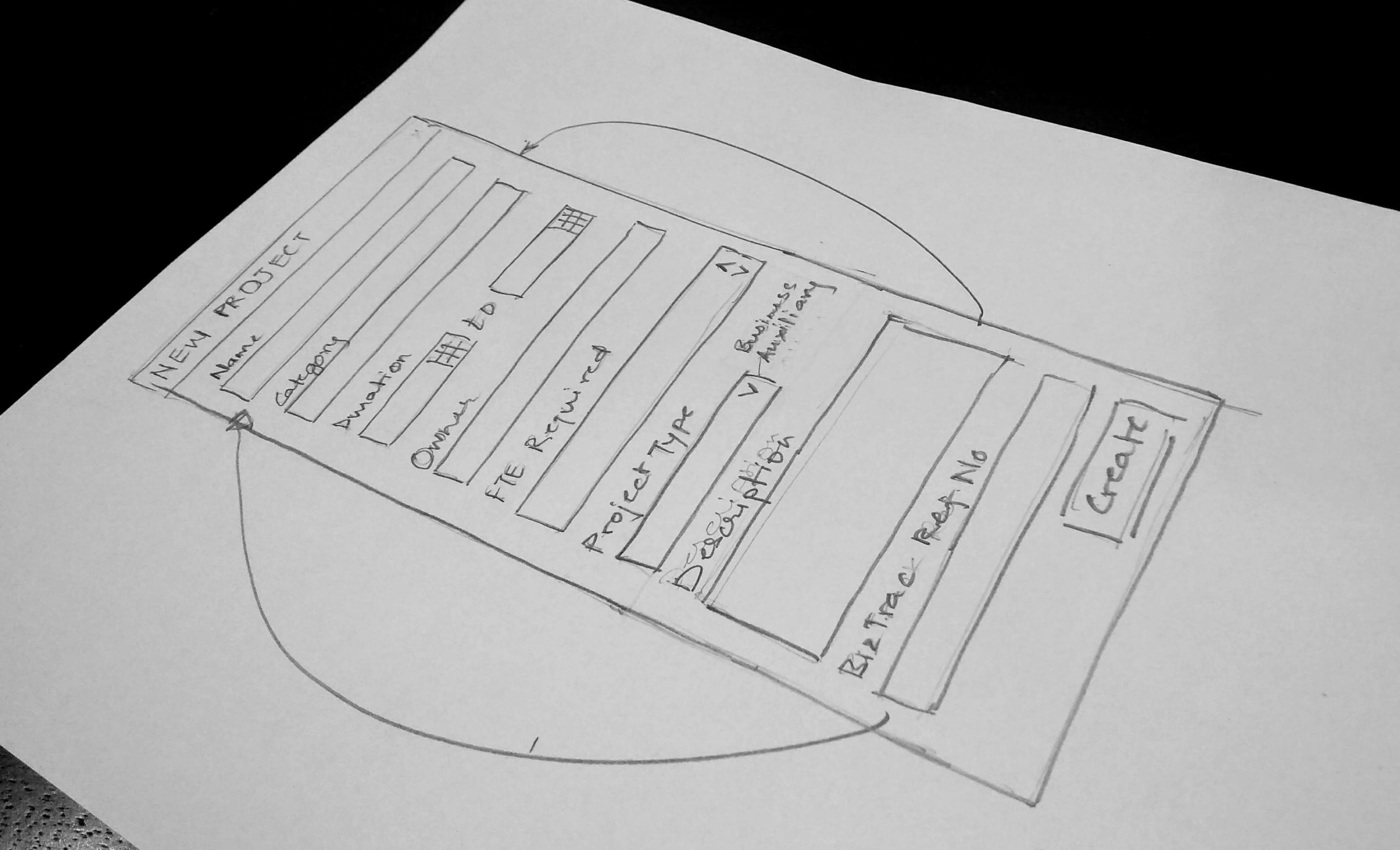 """A paper mockup for a """"New Project"""" form"""