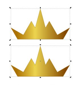 """Transform"" handles around a crown. Top image shows ""resize."" Bottom image shows ""rotate"" and ""skew."""