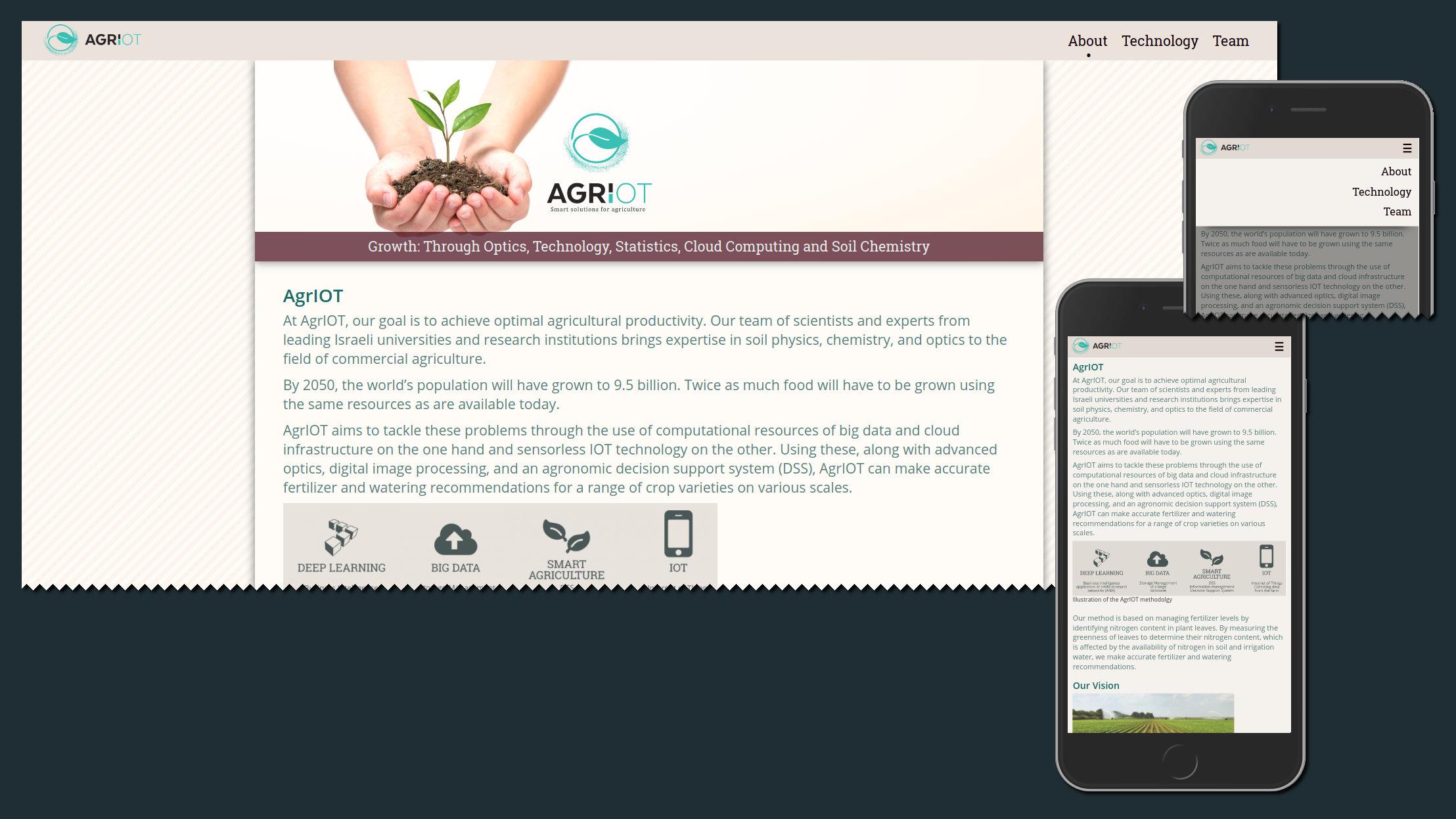 AgrIOT website's landing page