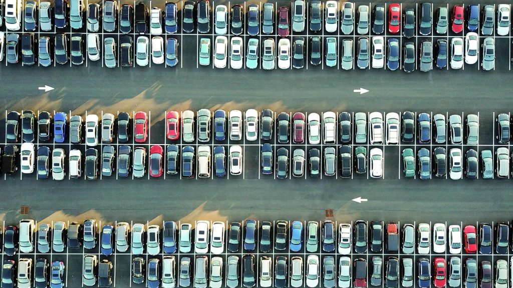 Cars in a car-park, representing caching